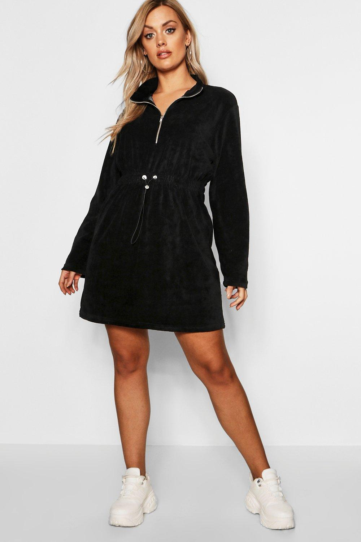 Plus Velour Draw Cord Sweat Dress