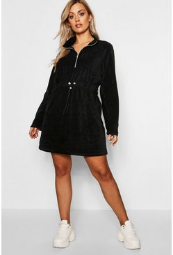 Womens Black Plus Velour Draw Cord Sweat Dress
