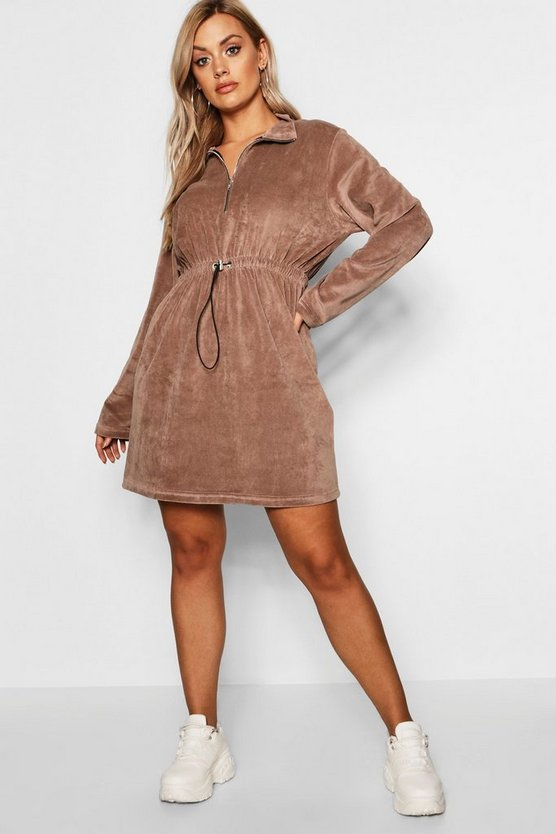 Womens Chocolate Plus Velour Draw Cord Sweat Dress