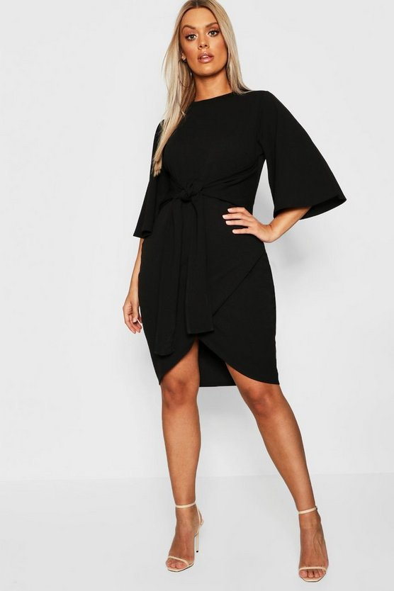 Plus Kimono Sleeve Tie Waist Wrap Dress