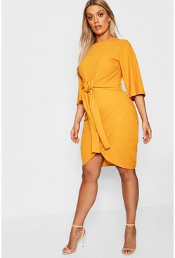 Womens Mustard Plus Kimono Sleeve Tie Waist Wrap Dress
