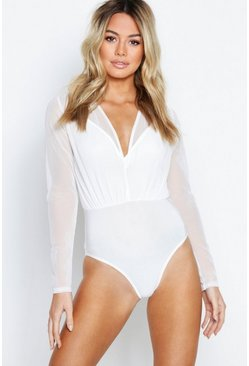 Womens White Petite Mesh 2 In 1 Bodysuit