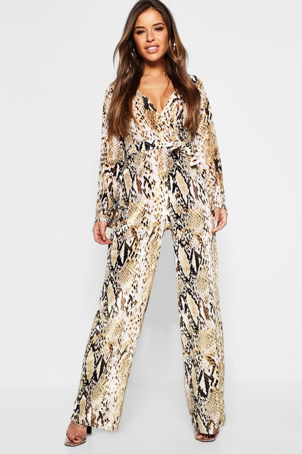 fde606194f1c Petite Snake Print Velvet Tie Waist Jumpsuit