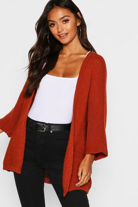 Womens Rust Petite Oversized Slouchy Cardigan