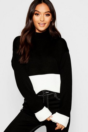 Womens Black Petite Colour Block Turtle Neck Jumper