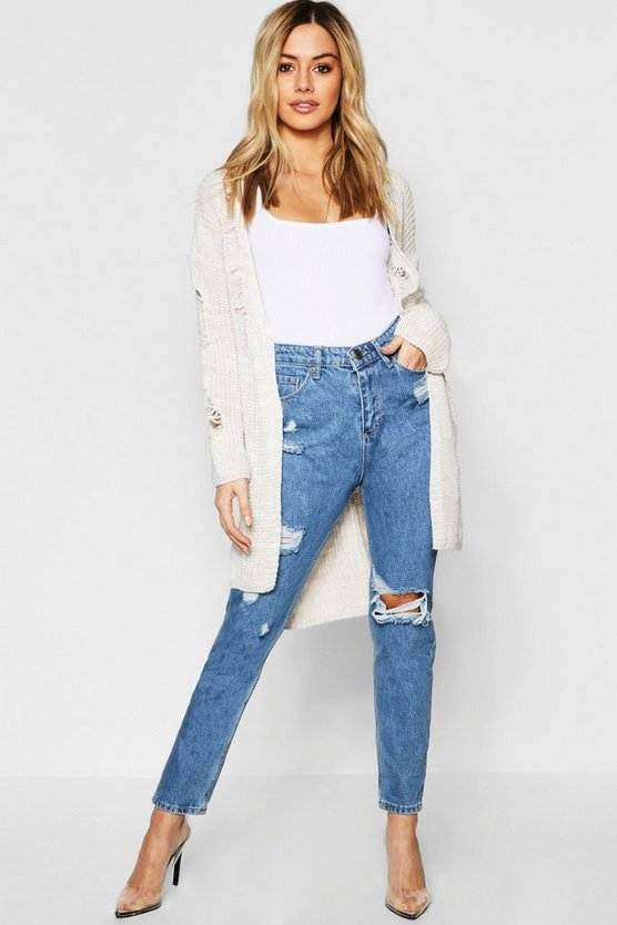 Petite Distressed Longline Cardigan
