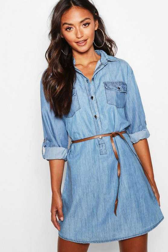 Womens Mid wash Petite Belted Denim Shirt Dress