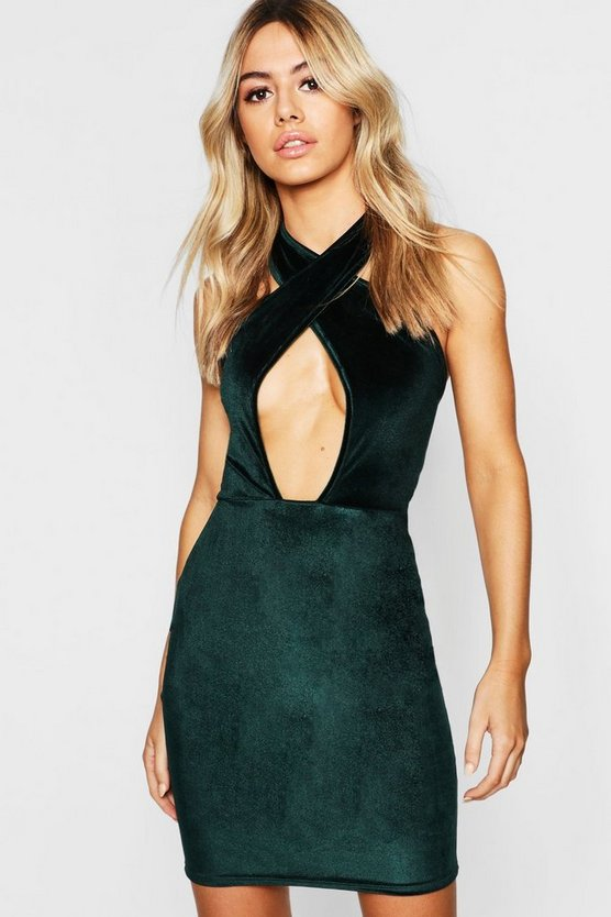 Petite Cross Front Velvet Bodycon Dress