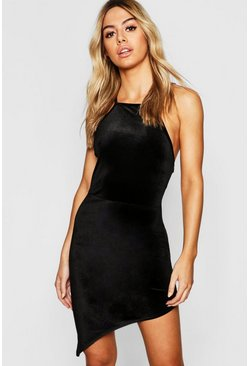 Womens Black Petite Velvet High Neck Asymmetric Bodycon Dress