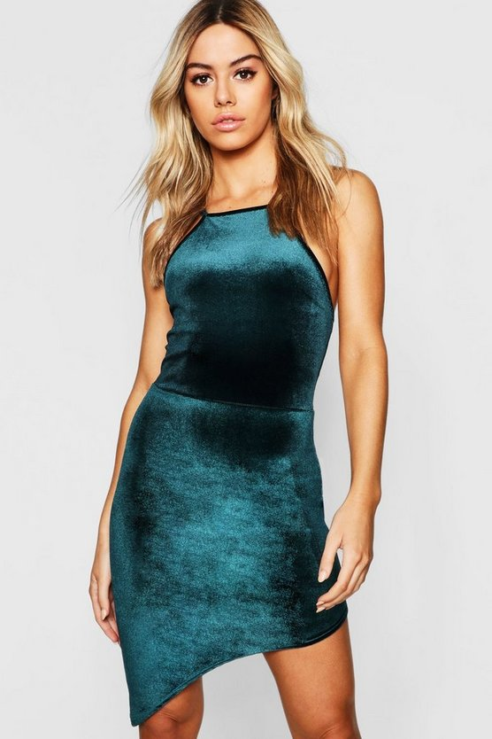 Womens Emerald Petite Velvet High Neck Asymmetric Bodycon Dress