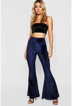 Womens Navy Petite Velvet Flared Trousers