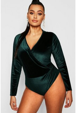 Womens Emerald Plus Velvet Wrap Over Bodysuit