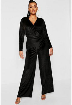 Womens Black Plus Velvet Inside Leg Trouser