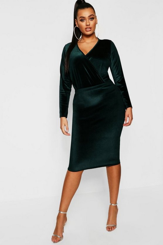 Emerald Plus Velvet Midi Skirt
