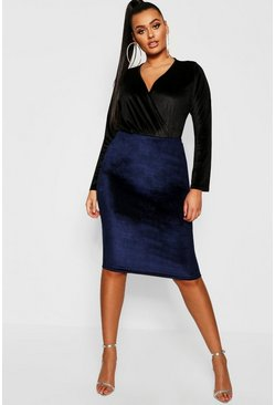 Navy Plus Velvet Midi Skirt