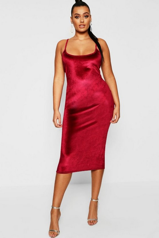 Womens Berry Plus Velvet Square Neck Midi Dress