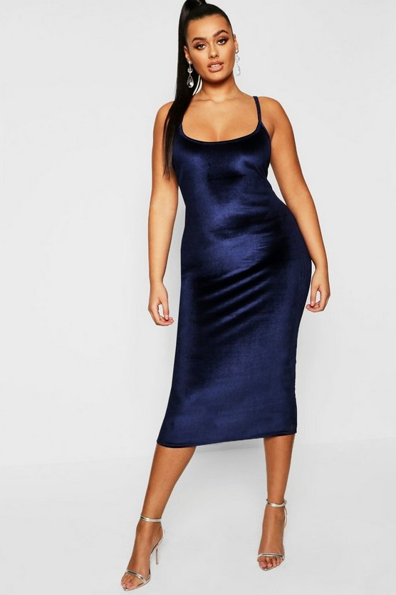 Plus Velvet Square Neck Midi Dress