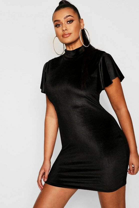 Plus Velvet High Neck Cap Sleeve Bodycon Dress