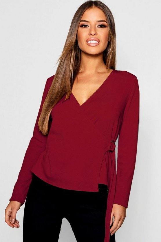 Petite O Ring Detail Rib Wrap Top