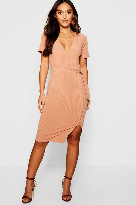 Petite Jumbo Rib Buckle Detail Midi Dress