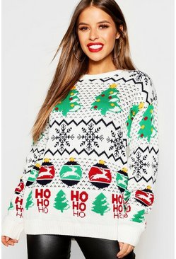 Womens Ecru Petite Novelty Christmas Jumper