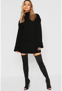 Womens Black Petite Oversized Rib Knit Jumper Dress