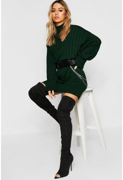 Womens Bottle green Petite Oversized Rib Knit Jumper Dress