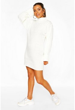 Ivory Petite Oversized Rib Knit Jumper Dress