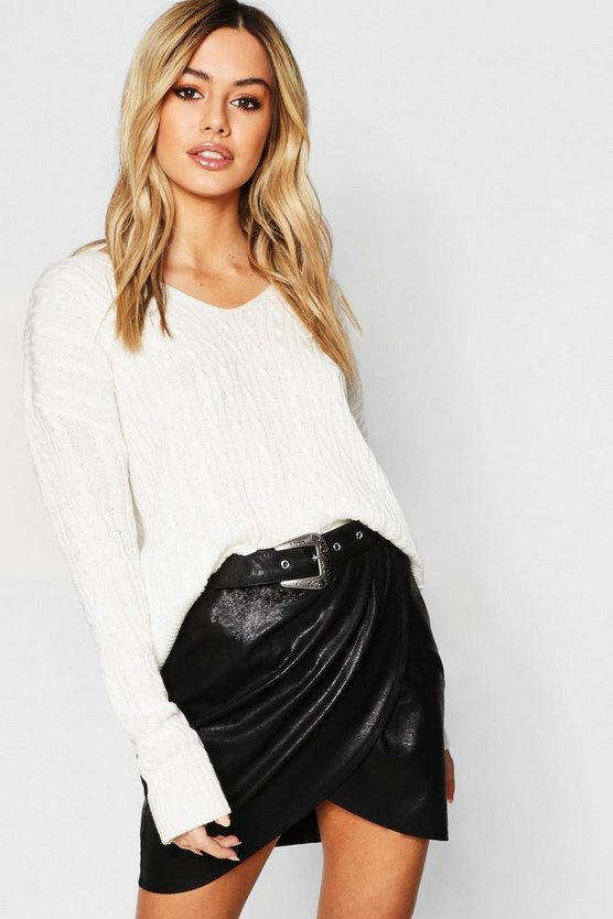 Petite Cable Knit V Neck Sweater