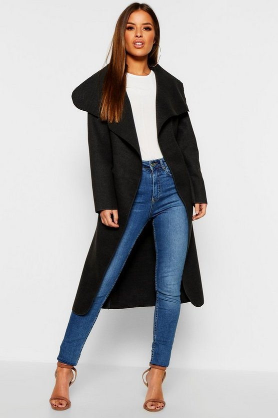 Petite Waterfall Wool Look Duster