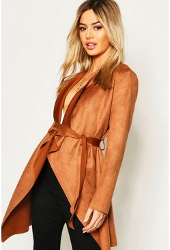 Womens Camel Petite Suedette Waterfall Duster Coat