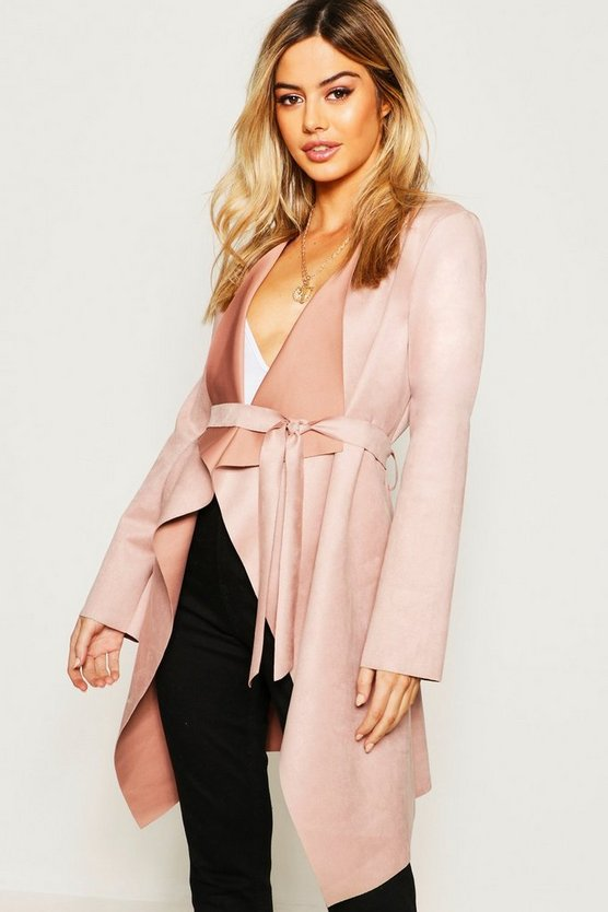 Womens Rose Petite Suedette Waterfall Duster Coat