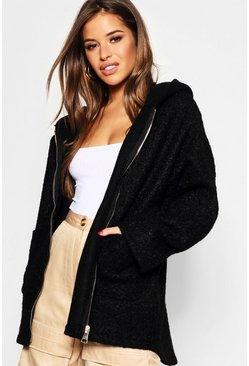 Womens Petite Textured Hooded Chuck On Coat