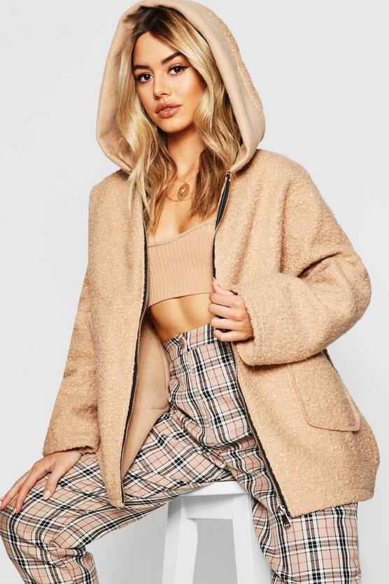 Petite Textured Hooded Chuck On Coat