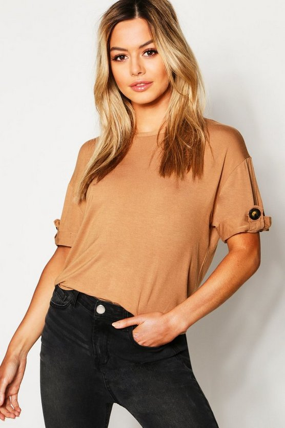 Petite Turn Back Cuff Button Tee