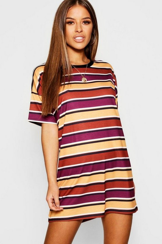Womens Mustard Petite Striped T-Shirt Dress