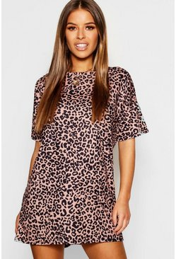 Womens Brown Petite Leopard T-Shirt Dress