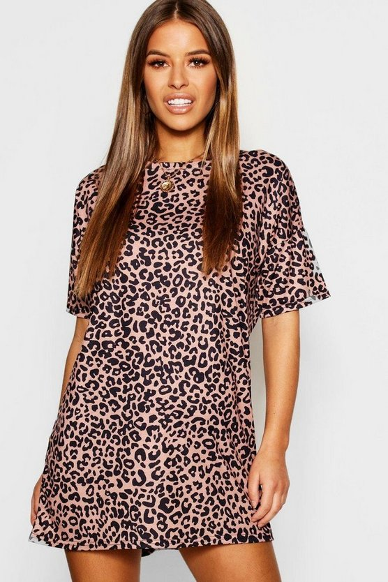 Petite Leopard T-Shirt Dress