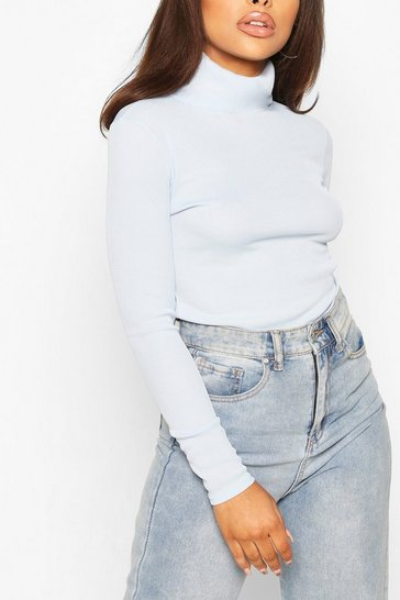 Blue Petite Rib Long Sleeved Turtle Neck Top