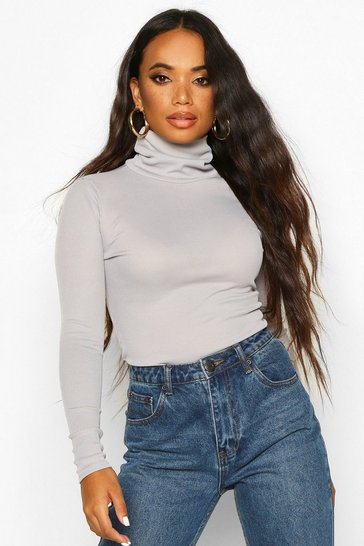 Grey Petite Rib Long Sleeved Turtle Neck Top
