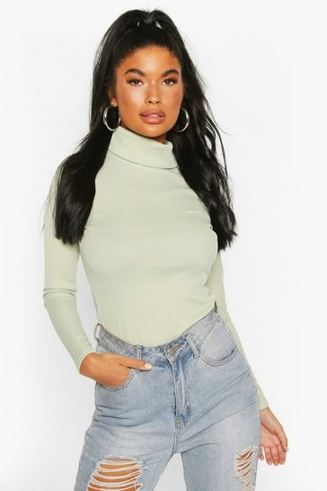 Sage Petite Rib Long Sleeved Turtle Neck Top
