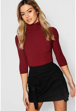 Berry Petite Rib Turtle Neck 3/4 Sleeve Top