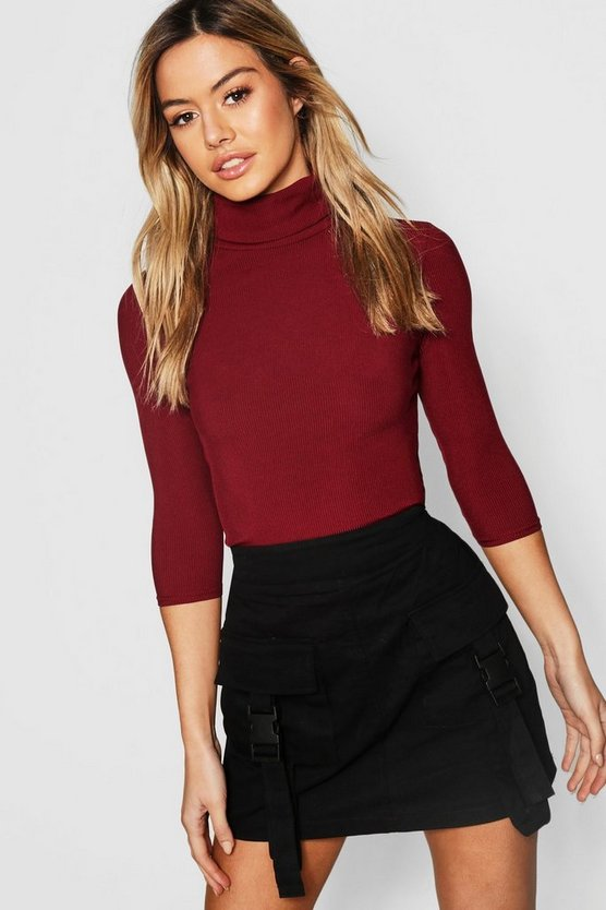 Womens Berry Petite Rib Turtle Neck 3/4 Sleeve Top