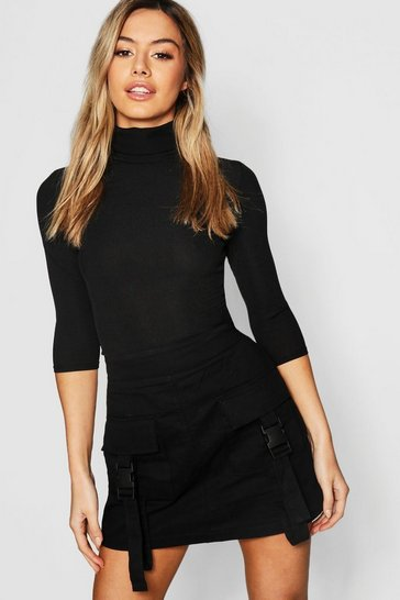 Black Petite Rib Turtle Neck 3/4 Sleeve Top