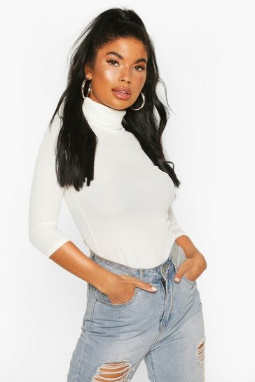 Ivory Petite Rib Turtle Neck 3/4 Sleeve Top