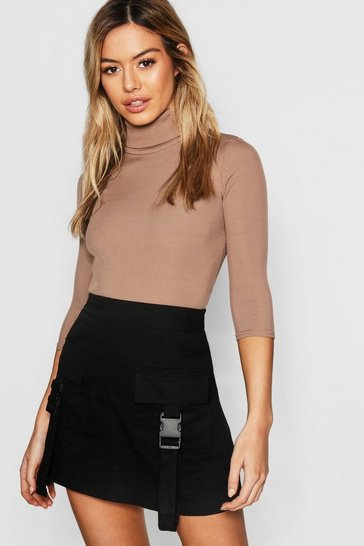 Mocha Petite Rib Turtle Neck 3/4 Sleeve Top