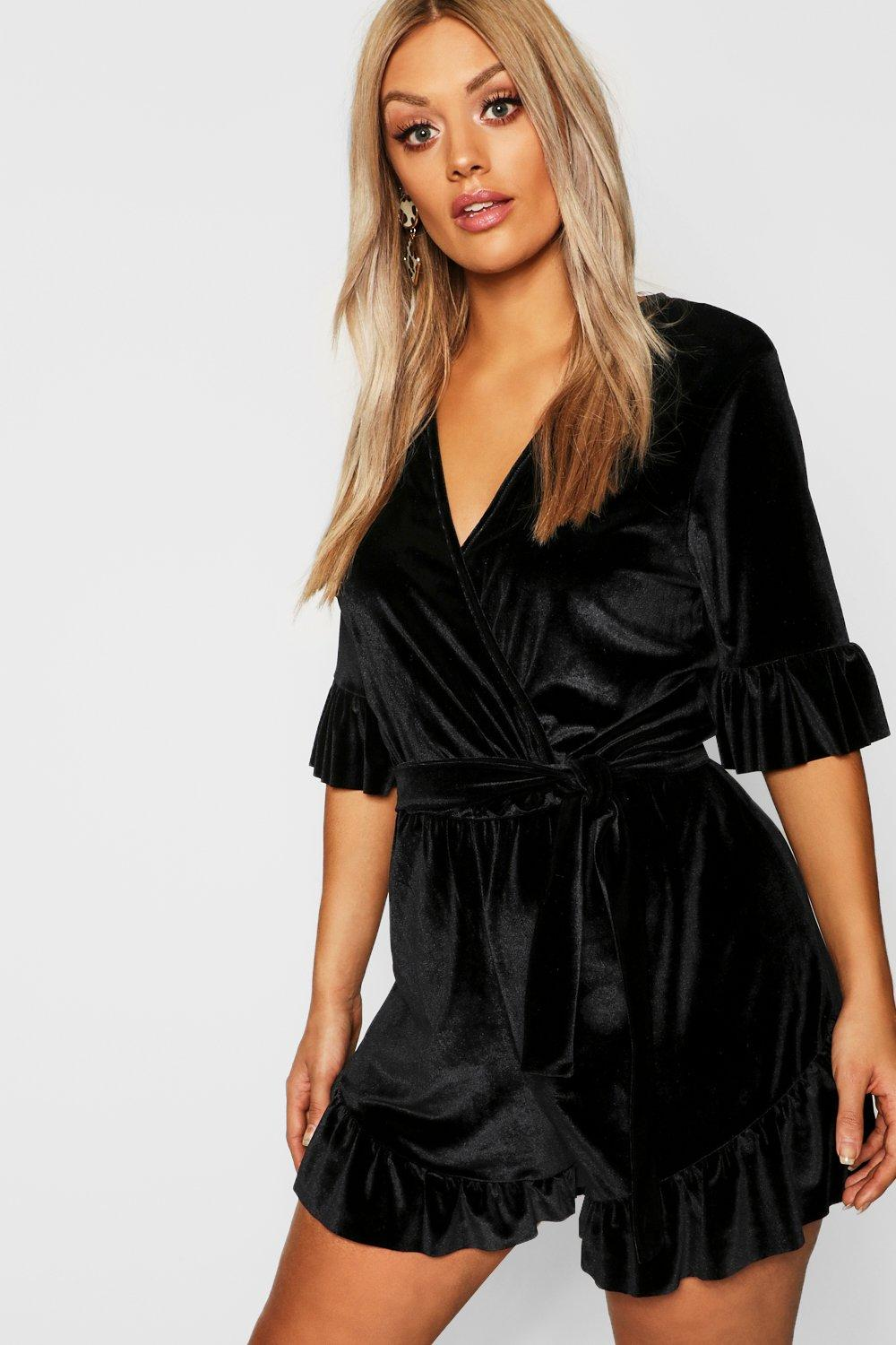 22cd2a9f60 Plus Velvet Wrap Ruffle Playsuit. Hover to zoom