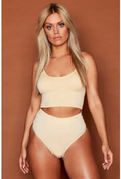 Womens Sand Plus Seamfree Longline Lounge Bralet