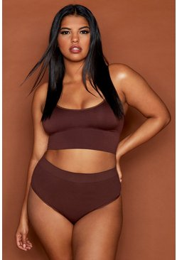 Womens Chestnut Plus Seamfree Longline Lounge Bralet