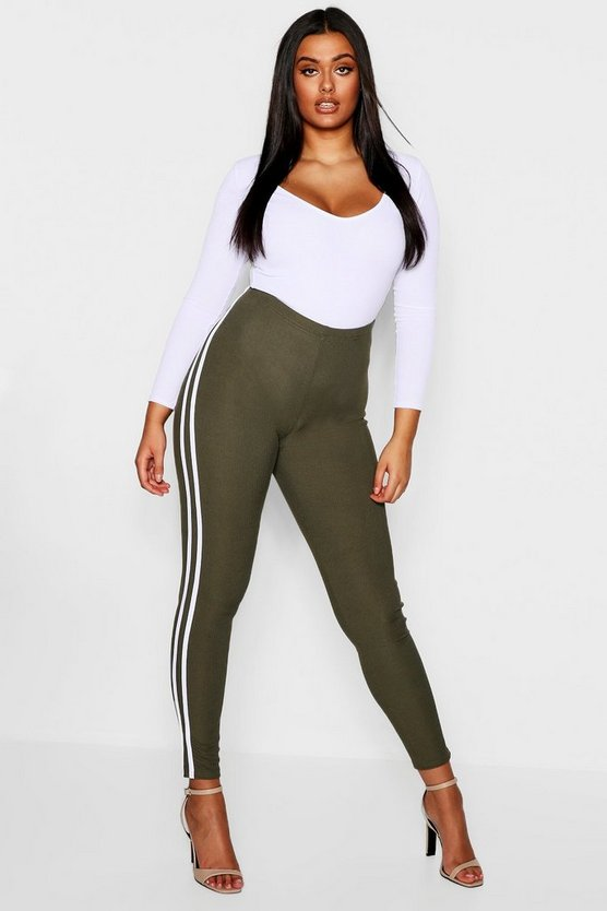 Plus Stripe Ribbed Leggings